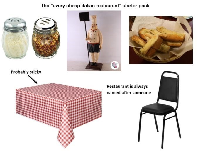 """Product - The """"every cheap italian restaurant"""" starter pack Probably sticky Restaurant is always named after someone"""