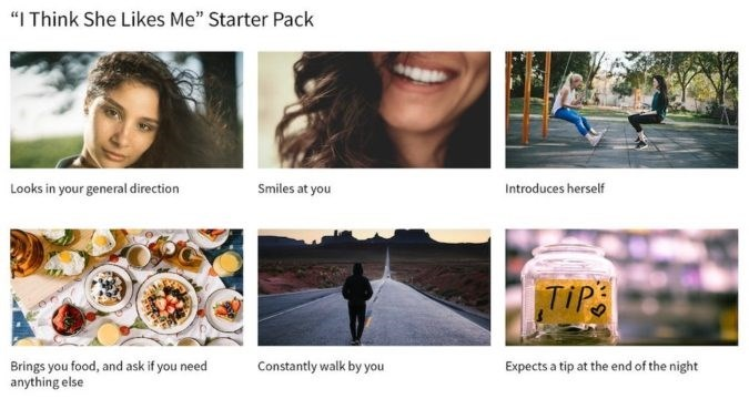 """Font - """"I Think She Likes Me"""" Starter Pack Looks in your general direction Smiles at you Introduces herself TIPS Brings you food, and ask if you need anything else Constantly walk by you Expects a tip at the end of the night"""