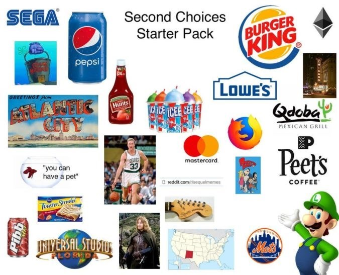 """Product - SEGA Second Choices BURGER KING Starter Pack pepsi 24 LOWE'S GREETINGS Ao Hunts ICHICE TCEE CEEEE Qdoba TY MEXICAN GRILL Peets CELTCS 33 mastercard """"you can have a pet"""" reddit.com//sequelmemes COFFEE Toaster Strendet INIVERSAL STUVIUS Mets FLOR DA"""