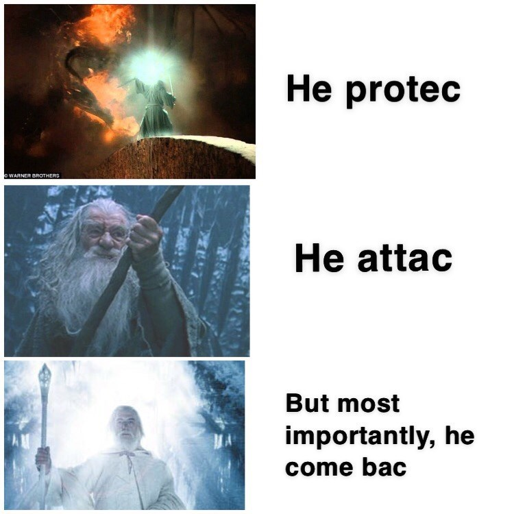 Text - He protec eWARNER BROTHERS He attac But most importantly, he AM come bac