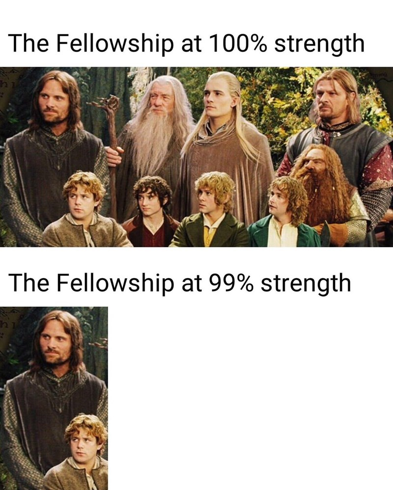 People - The Fellowship at 100% strength The Fellowship at 99% strength