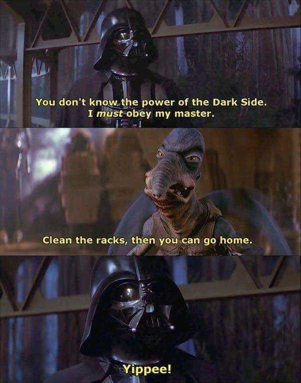 Fictional character - You don't know the power of the Dark Side. I must obey my master. Clean the racks, then you can go home. Yippee!