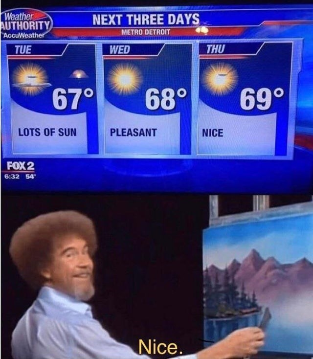 Funny meme about 69, weather, bob ross.