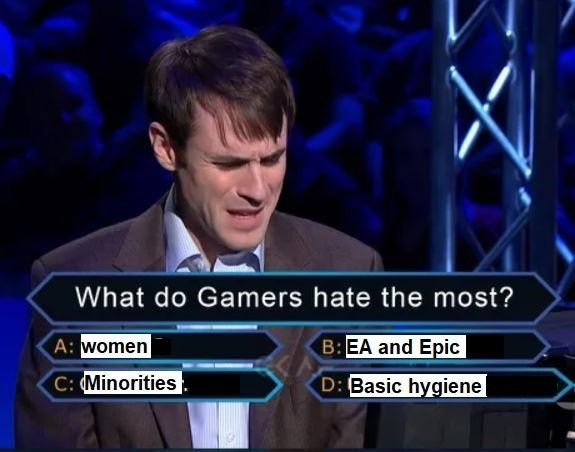 News - What do Gamers hate the most? B:EA and Epic A: women C:Minorities D: Basic hygiene