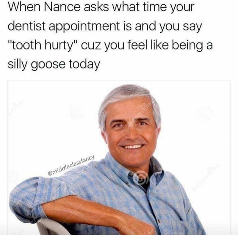 """Text - When Nance asks what time your dentist appointment is and you say """"tooth hurty"""" cuz you feel like being a silly goose today dieomstimg @middleclassfancy Sranm2bihme"""