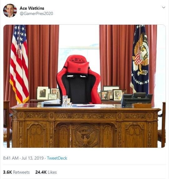 Furniture - Ace Watkins @GamerPres2020 LEVL 8:41 AM Jul 13, 2019 TweetDeck 3.6K Retweets 24.4K Likes