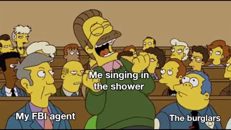 Cartoon - 7Me singing in the shower My FBI agent The burglars