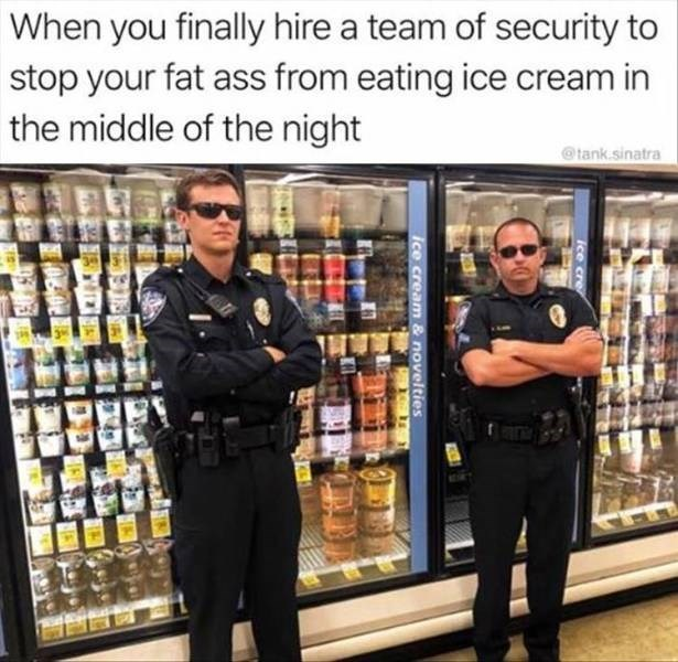 Product - When you finally hire a team of security to stop your fat ass from eating ice cream in the middle of the night @tank.sinatra ice cre ice cream & novelties