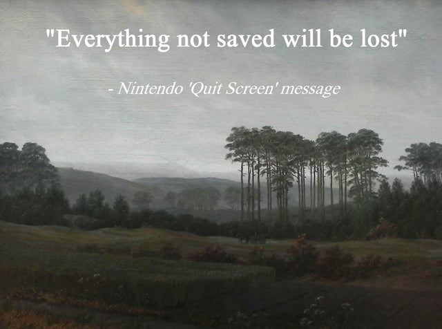 """Sky - """"Everything not saved will be lost"""" Nintendo 'Quit Screen' message"""