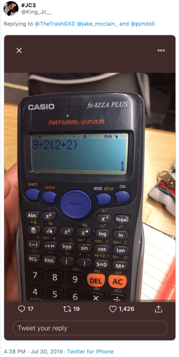 Tweet - photo of an equation on a calculator