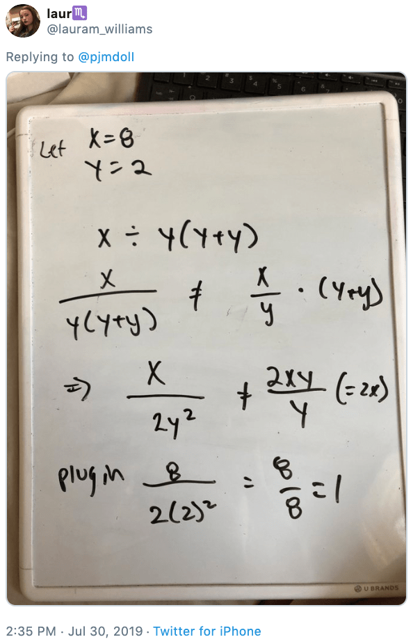 Tweet - photo of an equation on a whiteboard