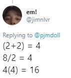 Text - em! @jimnlvr Replying to @pjmdoll (2+2) 4 8/2 4 4(4) 16