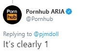 Text - Porn hub Pornhub ARIA @Pornhub Replying to @pjmdoll It's clearly 1