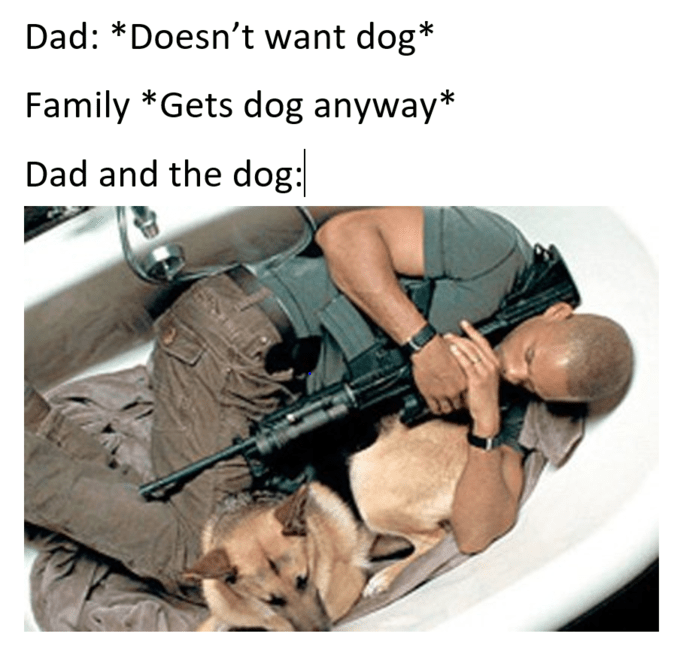 Soldier - Dad: *Doesn't want dog* Family *Gets dog anyway* Dad and the dog: