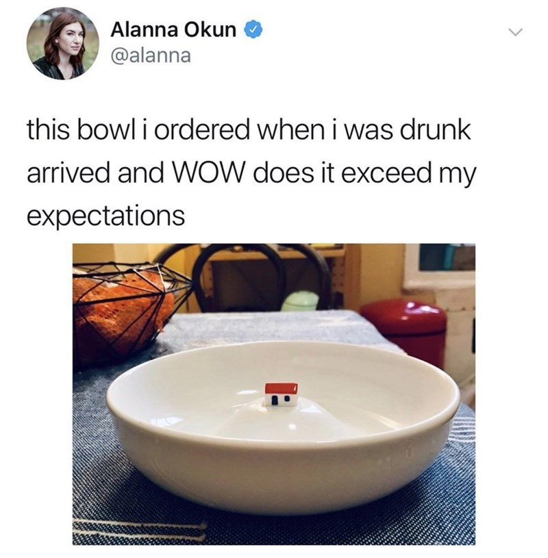 funny tweet - Bathroom sink - Alanna Okun @alanna this bowl i ordered when i was drunk arrived and WOW does it exceed my expectations