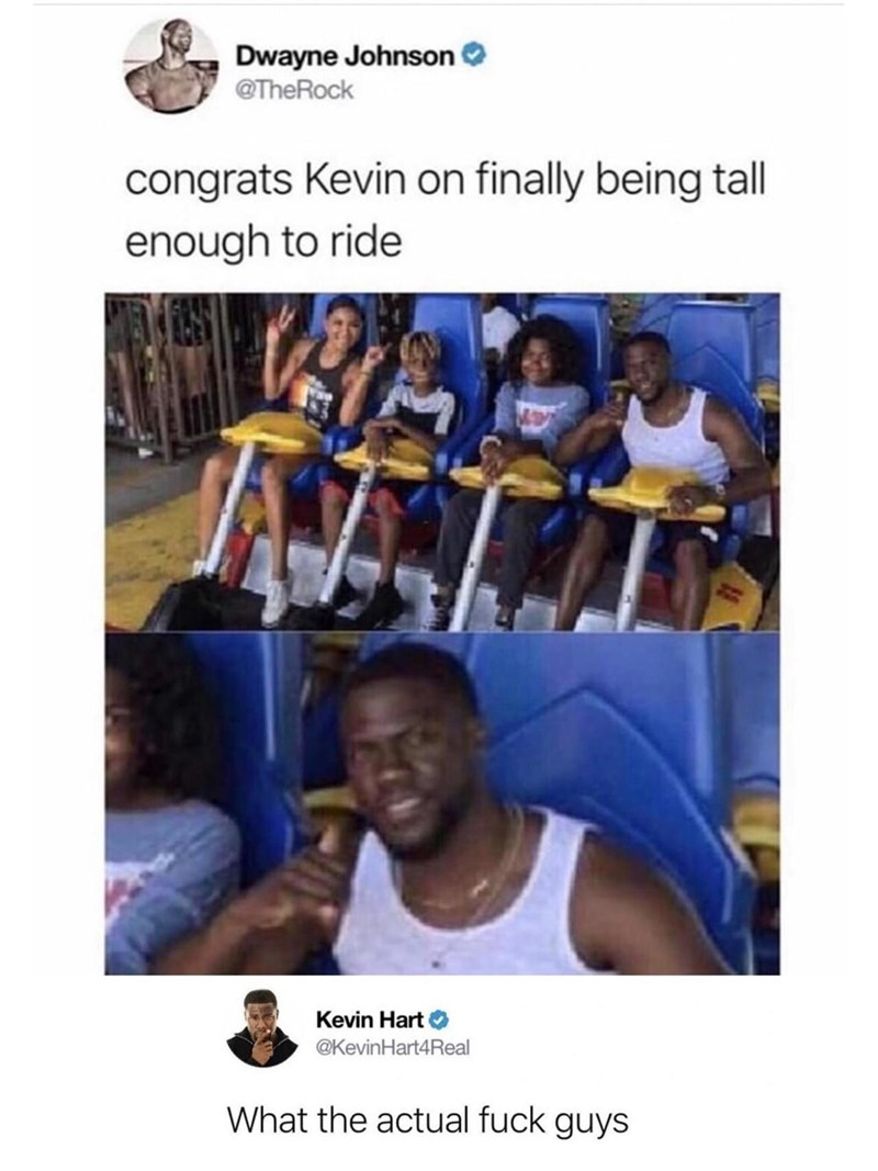 funny tweet - Team - Dwayne Johnson @TheRock congrats Kevin on finally being tall enough to ride Kevin Hart @KevinHart4Real What the actual fuck guys
