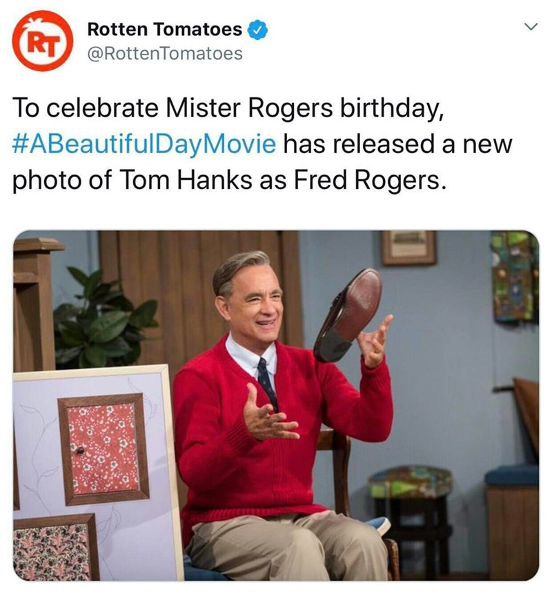 Text - Rotten Tomatoes KT@RottenTomatoes To celebrate Mister Rogers birthday, #ABeautifulDayMovie has released a new photo of Tom Hanks as Fred Rogers.