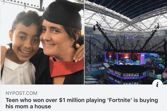 Product - FORTHITE i NYPOST.COM Teen who won over $1 million playing 'Fortnite' is buying his mom a house
