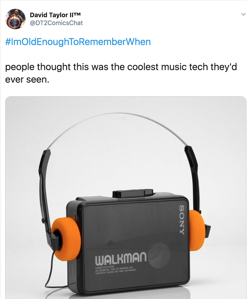 nostalgia - Headphones - David Taylor I|TM @DT2ComicsChat #ImOldEnoughToRememberWhen people thought this was the coolest music tech they'd ever seen WALKMAN PLAYER SONY