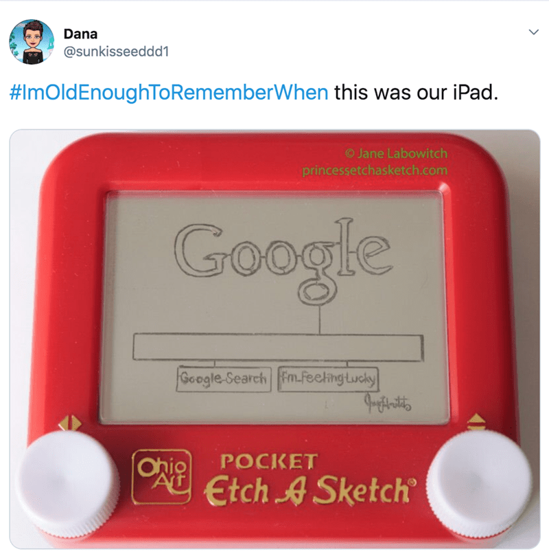 nostalgia - Electronics - Dana @sunkisseeddd1 #ImOldEnoughToRememberWhen this was our iPad. O Jane Labowitch princessetchasketch.com Google Google-Search FmfeelingLucly POCKET Ohio AT Etch ASketch