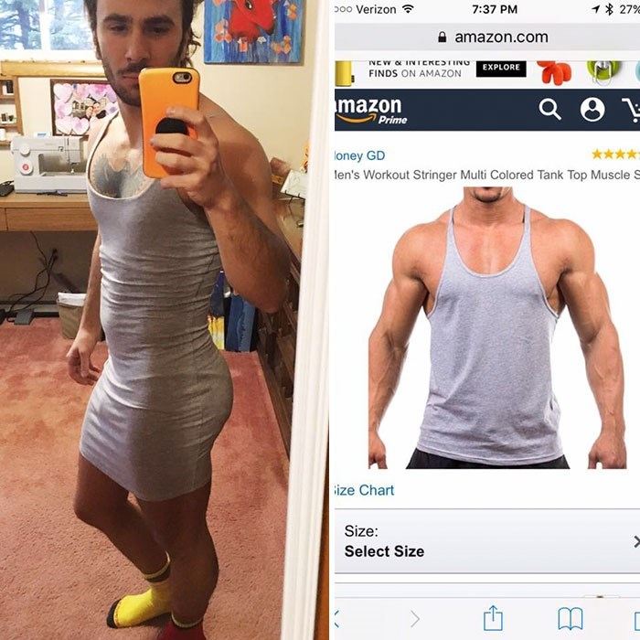 Clothing - o00 Verizon 1 27%E 7:37 PM amazon.com INE W IINTcKEING FINDS ON AMAZON EXPLORE mazon Prime loney GD len's Workout Stringer Multi Colored Tank Top Muscle S ize Chart Size: Select Size