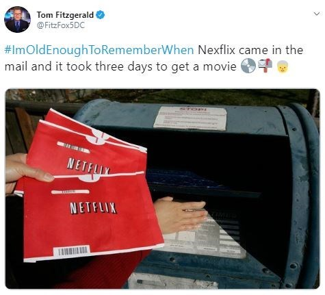 Material property - Tom Fitzgerald @FitzFox5DC #ImOldEnoughToRememberWhen Nexflix came in the mail and it took three days to get a movie NETFLIX NETFLIX