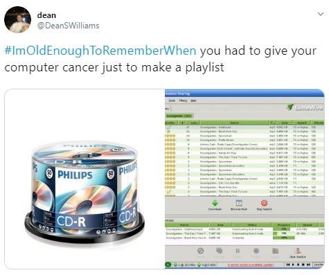 Product - dean @DeanSWilliams #ImOldEnoughTo RememberWhen you had to give your computer cancer just to make a playlist iWi PHILIPS PHI 50 CD-R CD-R