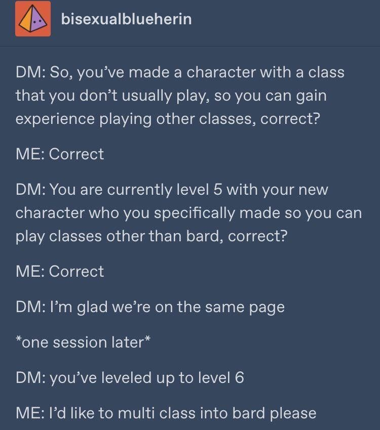 Dungeons & Dragons - Text - bisexualblueherin DM: So, you've made a character with a class that you don't usually play, so you can gain experience playing other classes, correct? ME: Correct DM: You are currently level 5 with your new character who you specifically made so you can play classes other than bard, correct? ME: Correct DM: I'm glad we're on the same page one session later* DM: you've leveled up to level 6 ME: I'd like to multi class into bard please