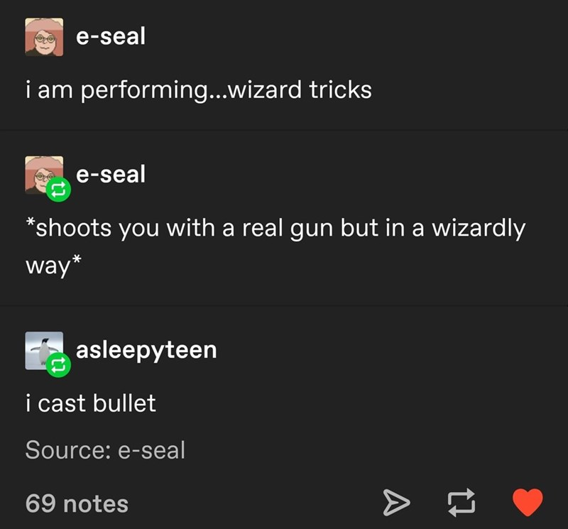 Dungeons & Dragons - Text - e-seal i am performing...wizard tricks e-seal *shoots you with a real gun but in a wizardly way* asleepyteen i cast bullet Source: e-seal 69 notes