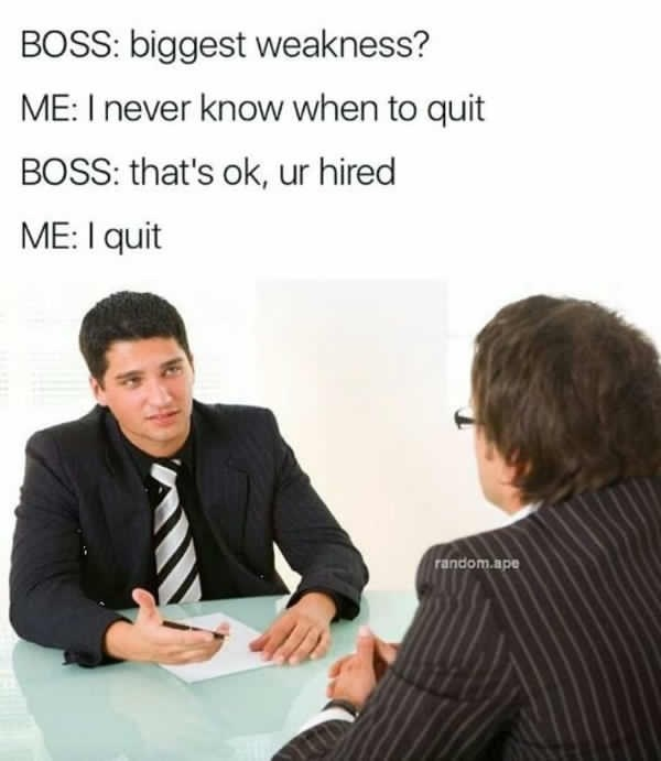 job interview - Text - BOSS: biggest weakness? ME: I never know when to quit BOSS: that's ok, ur hired ME: I quit random.ape