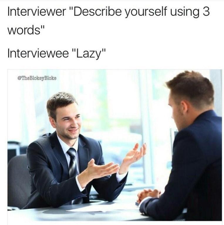 "job interview - Text - Interviewer ""Describe yourself using 3 words"" Interviewee ""Lazy"" TheBlokeyBloke"