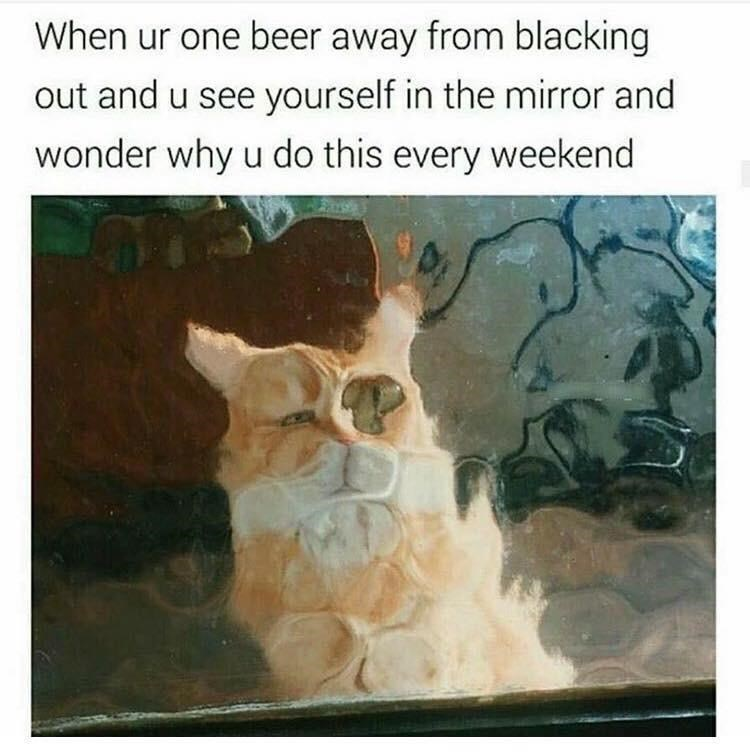 Text - When ur one beer away from blacking out and u see yourself in the mirror and wonder why u do this every weekend