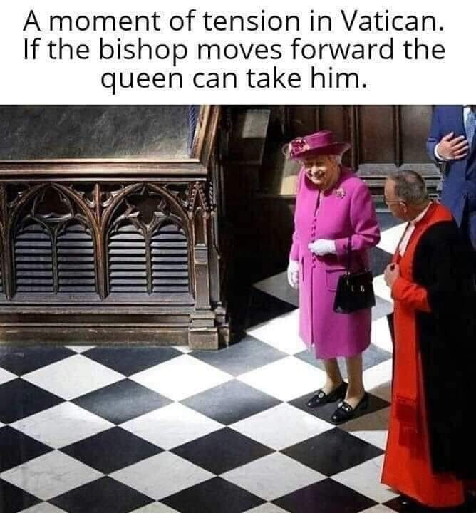 Games - A moment of tension in Vatican. If the bishop moves forward the queen can take him.