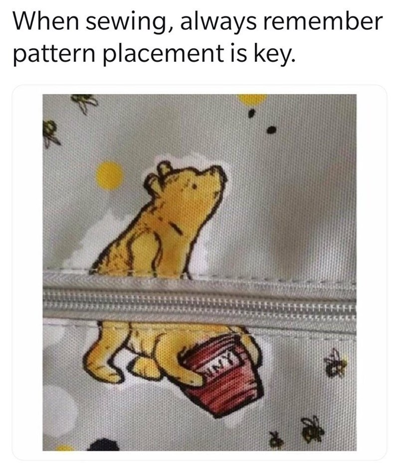 Text - When sewing, always remember pattern placement is key. FFFFFFFF