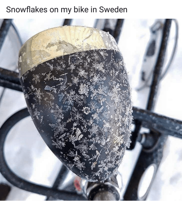 mildly interesting - Material property - Snowflakes on my bike in Sweden