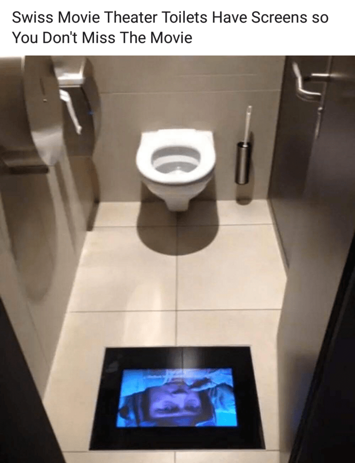 mildly interesting - Toilet - Swiss Movie Theater Toilets Have Screens You Don't Miss The Movie