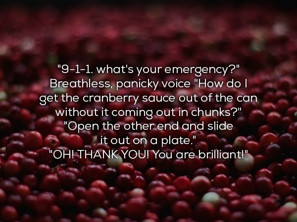"""Natural foods - """"9-1-1. what's your emergency?"""" Breathless, panicky voice """"How do I get the cranberry sauce out of the can without it coming.out in chunks?"""" """"Open the other end and slide it out on a plate."""" """"OHI-THANKYOU! You are brilliant!"""