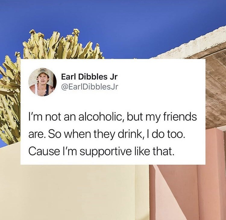 Text - Than Earl Dibbles Jr @EarIDibblesJr I'm not an alcoholic, but my friends are. So when they drink, I do too. Cause I'm supportive like that.