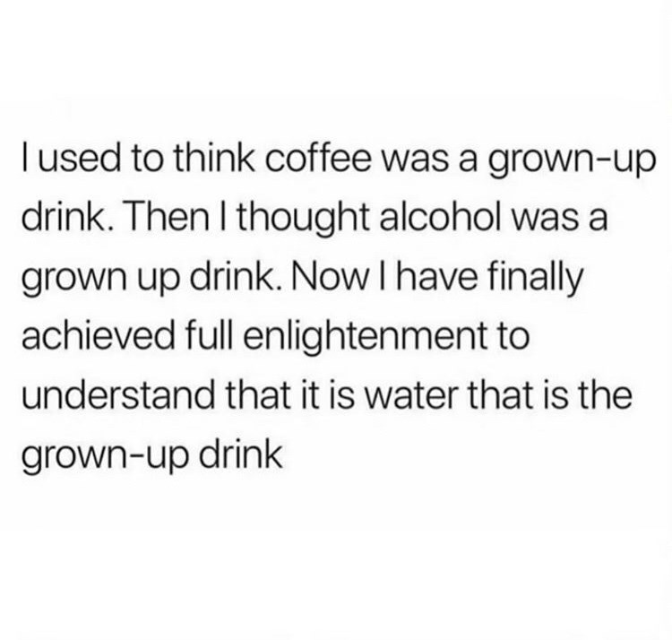 Text - l used to think coffee was a grown-up drink. Then I thought alcohol was a grown up drink. Now I have finally achieved full enlightenment to understand that it is water that is the grown-up drink