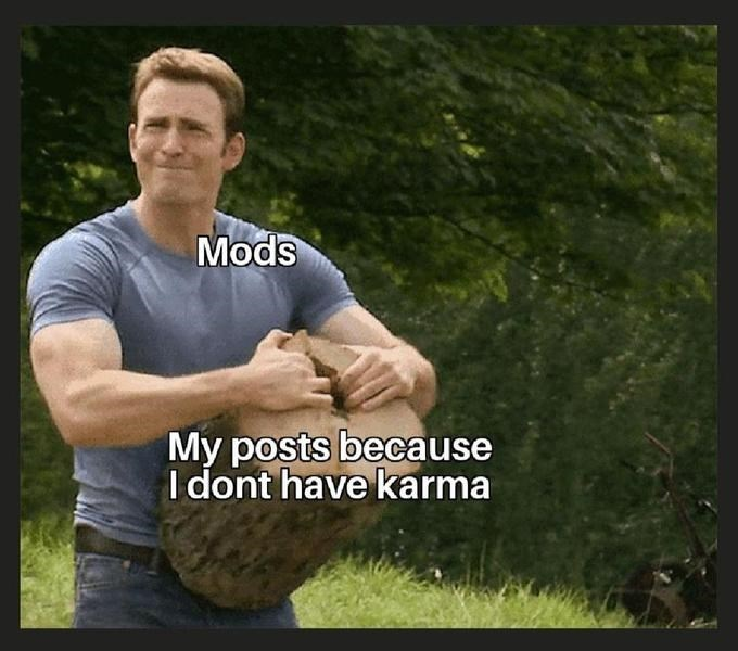 """Meme - """"Mods; My posts because I don't have karma"""""""