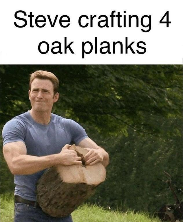 Adaptation - Steve crafting 4 oak planks