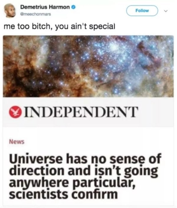 Text - Demetrius Harmon Follow Gmeechonmars me too bitch, you ain't special INDEPENDENT News Universe has no sensę of direction and işn't going anywhere particular, scientists confirm