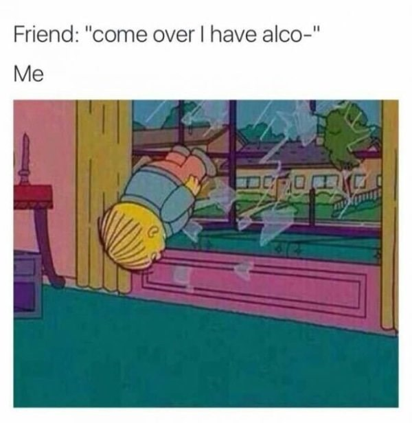 "Text - Friend: ""come over I have alco-"" Me"