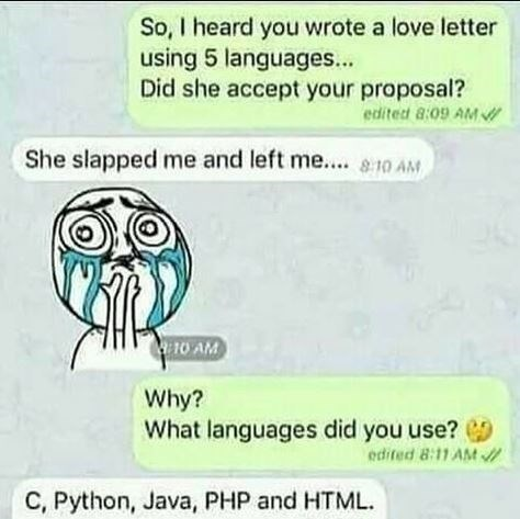 coding meme - Text - So, I heard you wrote a love letter using 5 languages... Did she accept your proposal? edited 8:09 AM She slapped me and left me....10 AM 10 AM Why? What languages did you use? edited 8:11 AM C, Python, Java, PHP and HTML