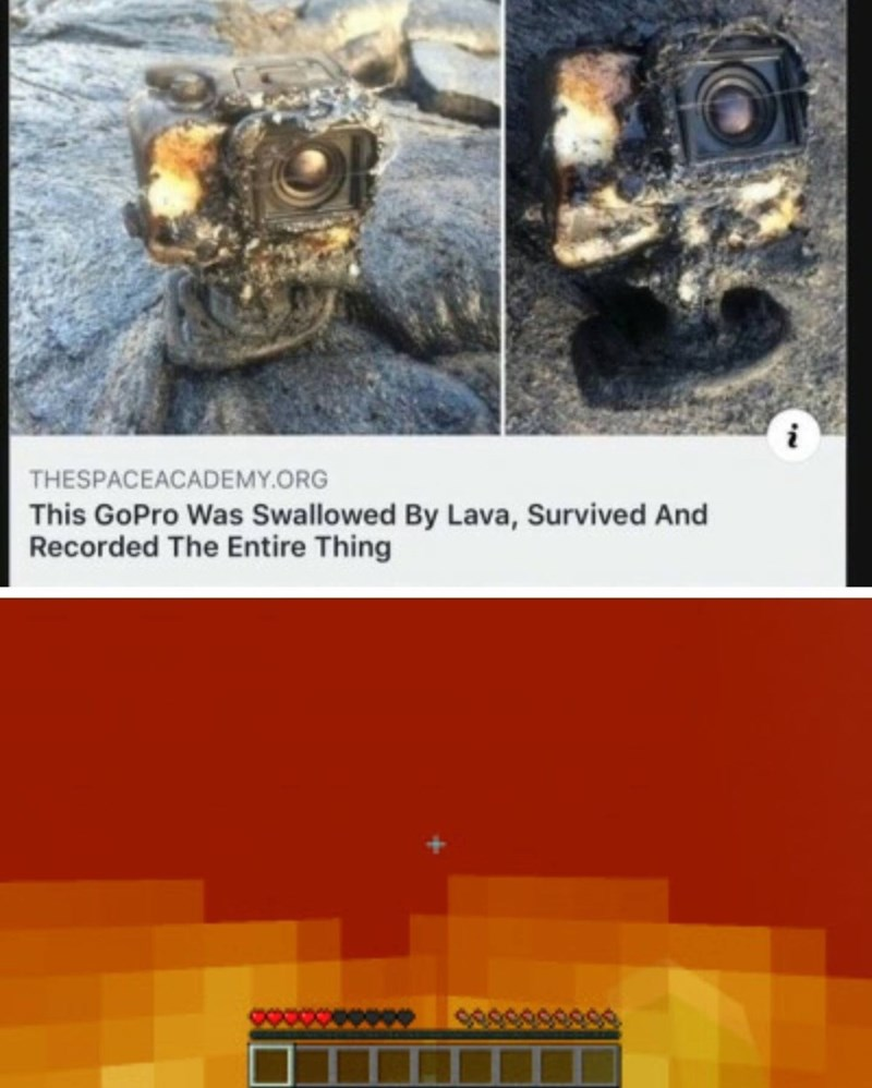 Text - THESPACEACADEMY.ORG This GoPro Was Swallowed By Lava, Survived And Recorded The Entire Thing