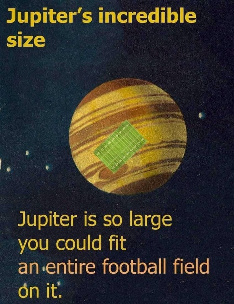 Text - Jupiter's incredible size Jupiter is so large you could fit an entire football field on it.