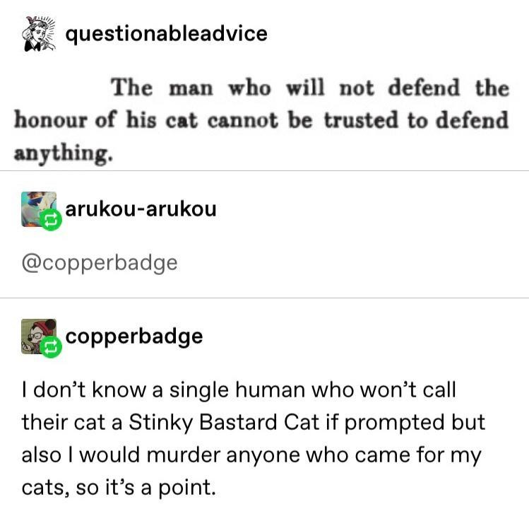 Text - questionableadvice The man who will not defend the honour of his cat cannot be trusted to defend anything. arukou-arukou @copperbadge copperbadge I don't know a single human who won't call their cat a Stinky Bastard Cat if prompted but also I would murder anyone who came for my cats, so it's a point.