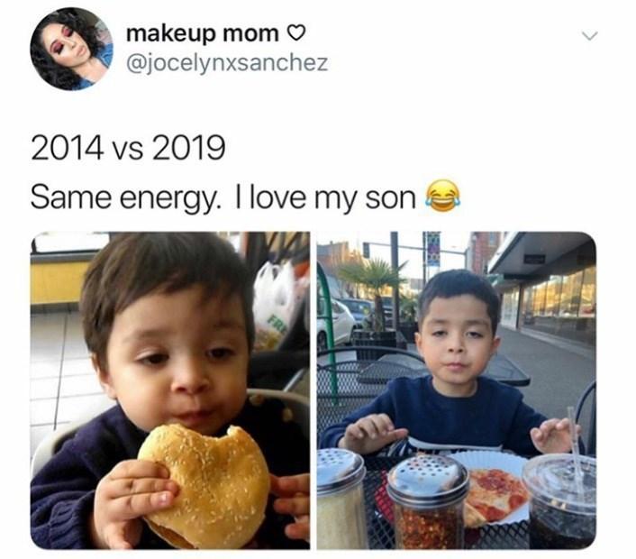 People - makeup mom @jocelynxsanchez 2014 vs 2019 Same energy. I love my son FR