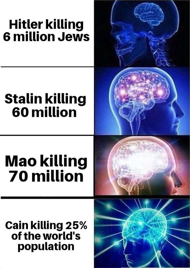 dank christian meme - Organism - Hitler killing 6 million Jews Stalin killing 60 million Mao killing 70 million Cain killing 25% of the world's population