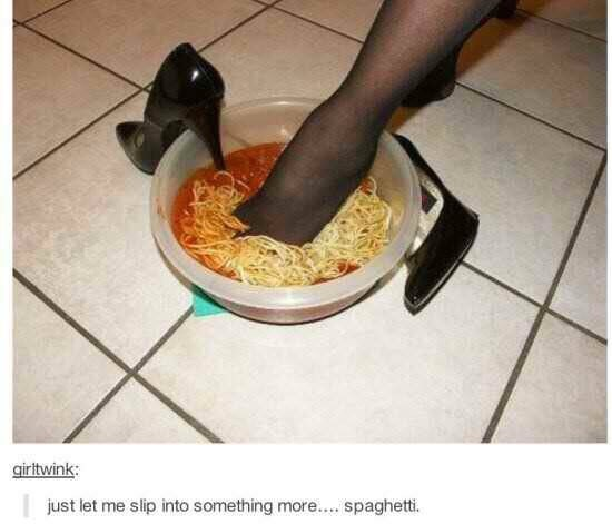 Food - girtwink: just let me slip into something more... spaghetti.
